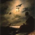Морской пейзаж с обломками корабля под лунным светом