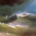 """Корабль """"Императрица Мария"""" во время шторма - 1892 год."""