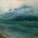 Корабли в бурном море. Восход солнца - 1871 год.
