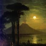Неаполитанский залив в лунную ночь. Везувий - 1840 год.